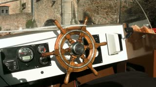 Helm of sailing boat.