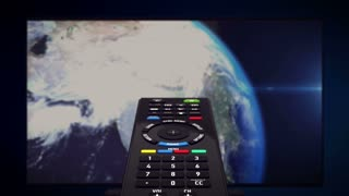 InfraRed Remote controller with luma matte channel. Tv set with Earth planet in background. Computer generated.