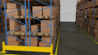 Interior of warehouse. Rows of shelves with boxes.