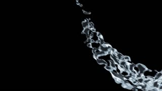 Liquid flow on a black background