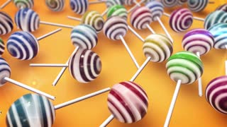 Lollipops on yellow background