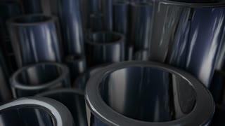 Many shiny steel pipes.