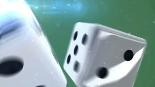 Pair of dice is rolling in slow motion against a green background