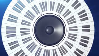 Piano circle keyboard with audio monitor in center. Abstract concept of creation of music.