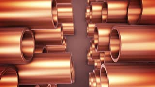 Polished copper pipes.