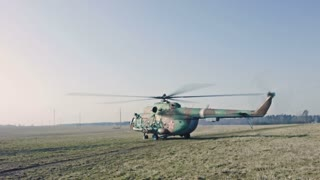 Russian Military Helicopter ready to flight.
