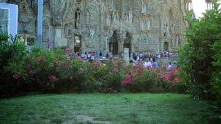 Sagrada Familia in Barcelona, Spain. Camera panning.