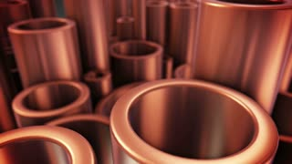 Shiny metal copper pipes with selective focus effect