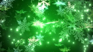 Snowflakes falling over a green backdrop.