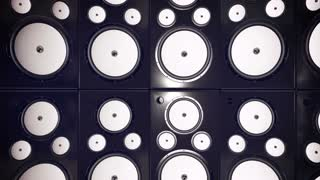 Sound speakers background. Audio stereo system. 3d
