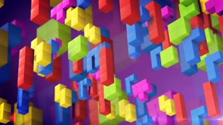 Tetris game. Beautiful backdrop with 3d tetris blocks.