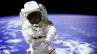 The astronaut in outer space with bad signal of camera.
