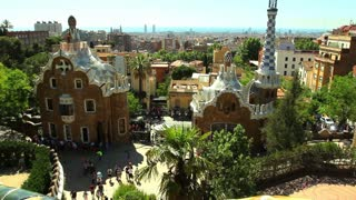 The Park Guell aka Parc Guell designed by Catalan architect Antoni Gaudi