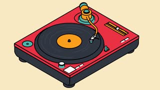 Video icon of a vinyl player rotates a vinyl disc. DJ music concept.