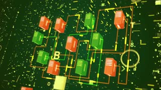 3d rendering of a digital transfer of information through condencator looking blocks of green and orange colors with a network of yellow routes in the dark green blue background wth shining dots