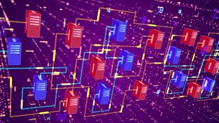 3d rendering of a numeric transfer of information through cubic blocks of blue and red colors with a network of sparkling yellow routes in the dark violet background wth shimmering dots and lines