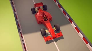 3d rendering of an ultramodern formula one of a bright red color dashing towards its victory along a smooth asphalt highway with black and white curbs. The driver is dressed in red suit.