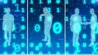 3D rendering of hundreds of  light blue digital people standing in cyberspace cells with falling bits with one and zero numbers behind their backs. The shot looks like a zoom out