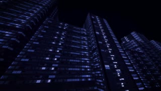 3d rendering of Night Urban high-rise buildings with lights in windows. Urban Concept.