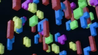 3d tetris game with imitation of old tv screen with weak video signal. Retro game concept. 80s.