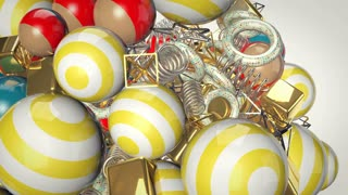 A festive 3d rendering of multicolored white and yellow, as well as red and blue balls, together with golden cubes spinning in the air. They whirl in the white background and look hilarious.