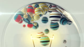 A funny 3d rendering of colorful striped balls rolling inside a transparent light bulb. They move up and down between an igniting spiral and lamp rods. It looks hilarious and entertaining.