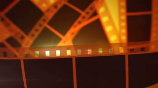 A glorious 3d rendering of cinematographic film tape of white and black colors. The film tape stirs horizontally and slowly with the bright yellow rays in the background. It reminds good films.