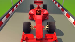 A high-tech 3d rendering of an ultramodern formula one of a bright red color dashing towards its victory along a smooth asphalt highway with black and white curbs. The driver is dressed in red suit.