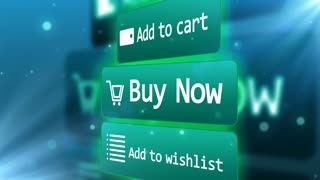 A Mouse Arrow presses on Buy Now, Add to Wishlist and Add to Cart buttons. Web Internet Shopping concept.