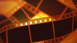 A retro 3d rendering of Movie making film tape of white and black colors. The film tape moves horizontally and slowly in the bright yellow background. It reminds Hollywood masterpieces.