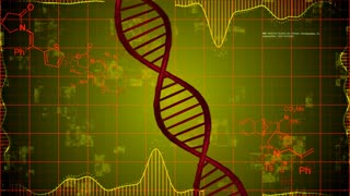 Abstract DNA Strand with science elements background. Science technology concept.