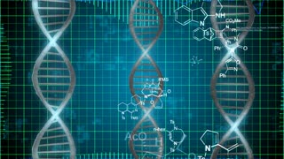 Abstract DNA Strands on a grid background. Science technology concept.