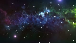 Abstract flying in Infinite space background with nebula and stars.