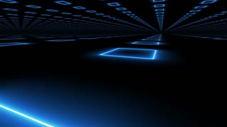 Abstract Futuristic technology blue background with a camera rotation motion.