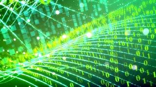 Abstract Green Binary Code Data Transfer. Seamless loop.