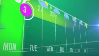 Abstract infographics of Weather forecast concept on a green background with warm rainy weather.