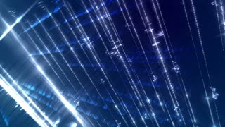 Abstract loopable animation of glow light streaks on a dark blue background.