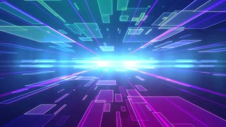 Abstract Modern colorful background with Rectangles moving to the camera and Lens Flares. Future Business technology backdrop. Loopable.