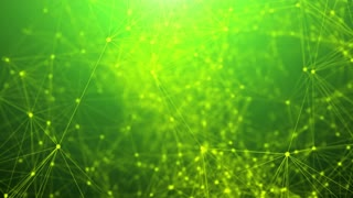 Abstract technology futuristic network animation on a green background. Seamless loop.