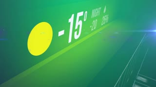Abstract Weather forecast interface from cold to warm temperature with snow on a green background.