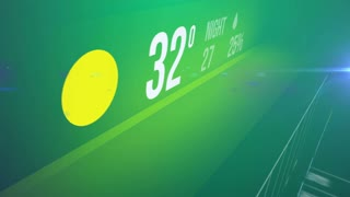 Abstract Weather forecast interface with hot temperature on a green background.