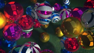 Amazing 3d rendering of Christmas balls flying, whirling and spinning in the gray background. They are white and violet, golden, red, and purple, and produce a Happy New Year mood.