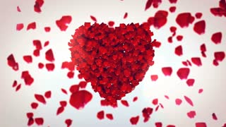 Amazing 3D rendering of the petals of red roses, placed in the center in the form of heart. The other petals fall down in the white background and create a romantic mood