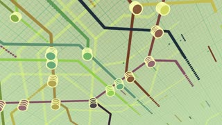 Amazing render of an abstract metro map system animation with rows of multicolored dots, lines and stations, displayed in piles, shining letters and digits, in the white background with a black grid