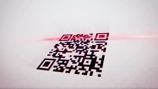 Amusing 3d rendering of a QR code scanner which uses red lazer, analyses a black and white code,  placed askew, and gets pink information in letters, numbers, specific signs, in the white background