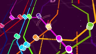 An abstract metro map system cartoon with several multicoloredl lines and stations, shown in piles, dazzling letters and digits, changing rapidly, in the violet background with a grid