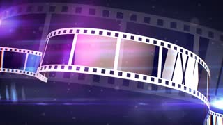 An amazing 3d rendering of a violet and white cinematographic film tape. The film tape spins on a reel fast with the bright blue beams in the background. It looks like a film projecter work.