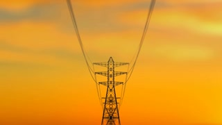An arty 3d rendering of high cribriform electricity towers approaching quickly as a result of the dolly in effect. The background is dark yellow. It looks like a summer sunset.