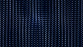 An exiting 3d rendering of folk knitted material tissue with oval knots connected with each other.The blue strands are on the black background. The tissue is approached through zooming in.