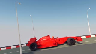 An impressive 3d rendering of a streamlined formula one of a bright red color rushing and dodging towards its victory along a smooth highway with black and white kerbs. It is seen in profile.